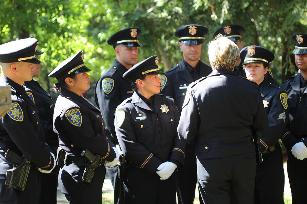 Chief Margo Bennett with UCPD Berkeley officers