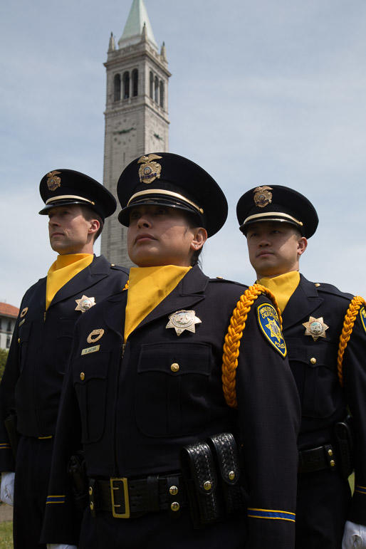 UCPD Honor Guard in front of Sather Tower