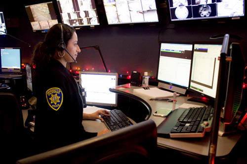 Charming Police, Fire, And Ambulance Dispatchers . Dispatcher At Monitors  With Headset